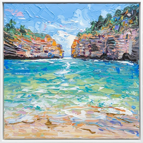 (CreativeWork) Loch Ard Gorge - Framed by Joseph Villanueva. Acrylic Paint. Shop online at Bluethumb.