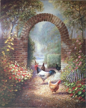 (CreativeWork) Gate to garden with chickens by Jos Kivits. Oil Paint. Shop online at Bluethumb.