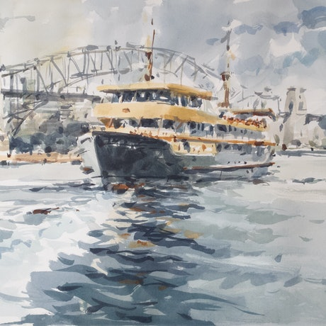 (CreativeWork) Sydney Ferry by T. B. Watercolours. Watercolour Paint. Shop online at Bluethumb.