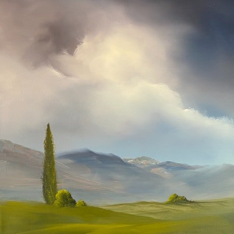 (CreativeWork) Somewhere Near Ross by Elaine Green. Oil Paint. Shop online at Bluethumb.