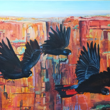(CreativeWork) Heading Home - Black Cockatoos by Lyn Watts. Acrylic Paint. Shop online at Bluethumb.