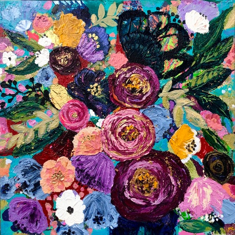 (CreativeWork) Full Bloom by Sandra Oost. Acrylic Paint. Shop online at Bluethumb.