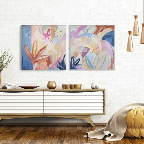 (CreativeWork) On the rainforest floor - Diptych Framed  by Claire Cooper. Acrylic Paint. Shop online at Bluethumb.