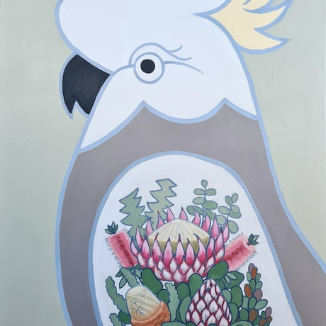 (CreativeWork)  White Cockatoo With King  Protea Tattoo - AUSTRALIANA - Animals by Olga Kolesnik. Acrylic Paint. Shop online at Bluethumb.