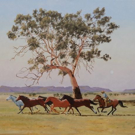 (CreativeWork) Rounding up Brumbies by Lance Ross. Oil Paint. Shop online at Bluethumb.