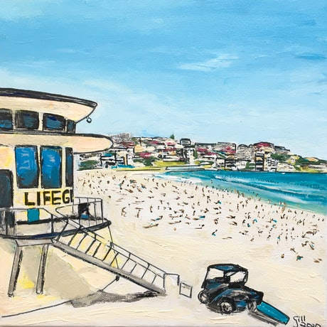 (CreativeWork) Bondi Beach Lifeguard's Hut   by Gillian Fahey. Acrylic Paint. Shop online at Bluethumb.