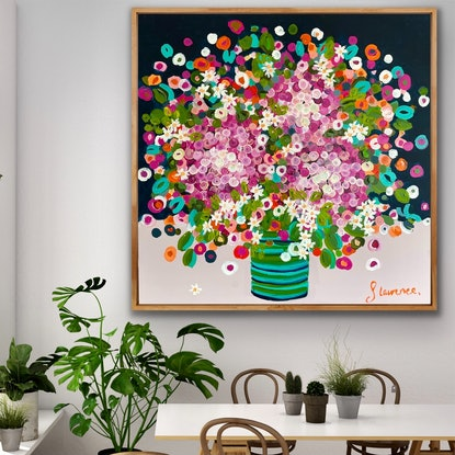 (CreativeWork) Pink hydrangeas and blossoms green vase 106x106  framed large textured abstract by Sophie Lawrence. Acrylic Paint. Shop online at Bluethumb.