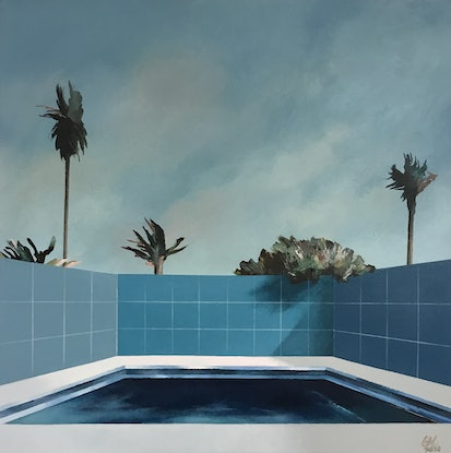 (CreativeWork) Motel Pool 2 by Geoff Coleman. Acrylic Paint. Shop online at Bluethumb.