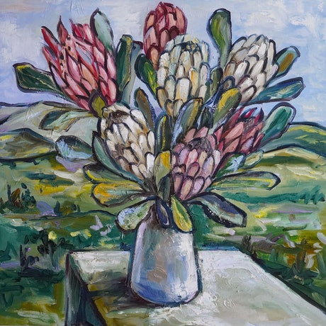(CreativeWork) Seven Proteas  by Katerina Apale. Oil Paint. Shop online at Bluethumb.