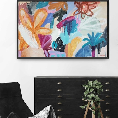 (CreativeWork) Blazing - Framed by Claire Cooper. Acrylic Paint. Shop online at Bluethumb.