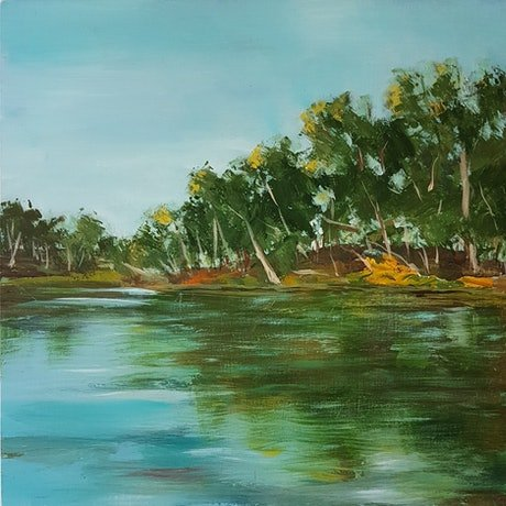 (CreativeWork) AFTERNOON GREEN by Suzy Strout. Acrylic Paint. Shop online at Bluethumb.