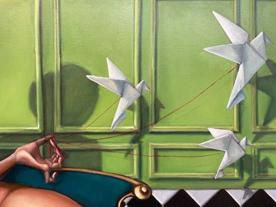 (CreativeWork) Her flying objects  II by Daria Andrews. Oil Paint. Shop online at Bluethumb.