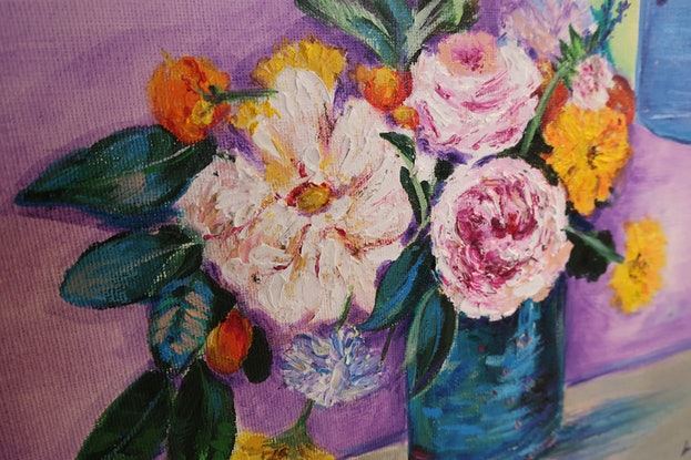 (CreativeWork) MINI FLORAL PRACTICE  by Lily Iris. Acrylic Paint. Shop online at Bluethumb.