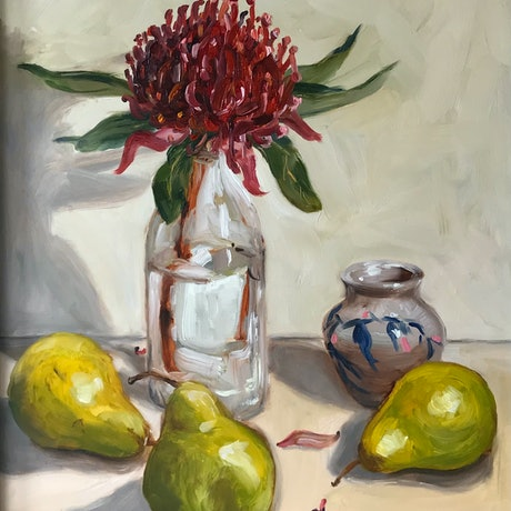 (CreativeWork) Waratah and Pears by Catherine Stait-Gardner. Oil Paint. Shop online at Bluethumb.