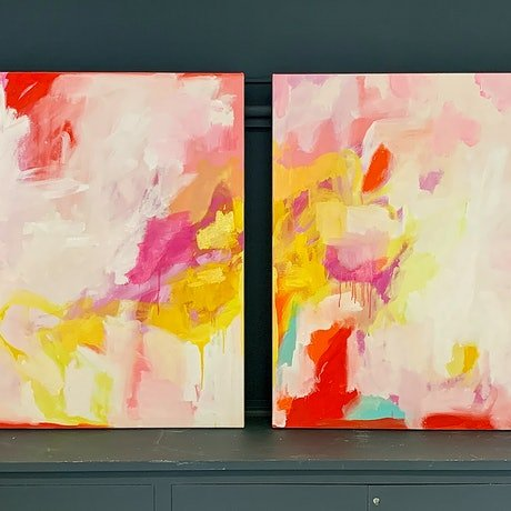 (CreativeWork) The Fire Within I & II by Hanna Rose. Oil Paint. Shop online at Bluethumb.