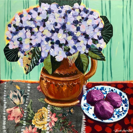(CreativeWork) Plums and Hydrangeas  by Sandra Oost. Mixed Media. Shop online at Bluethumb.