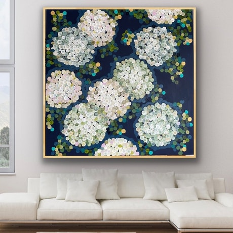 (CreativeWork) White night hydrangea 126x126 framed large textured abstract  by Sophie Lawrence. Acrylic Paint. Shop online at Bluethumb.