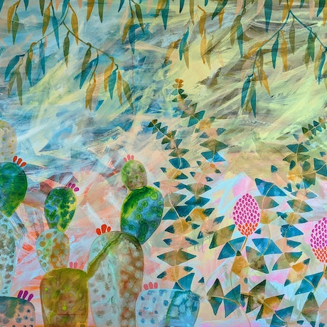 (CreativeWork) Prickly Pear in the Banksia Garden by Marinka Parnham. Acrylic Paint. Shop online at Bluethumb.