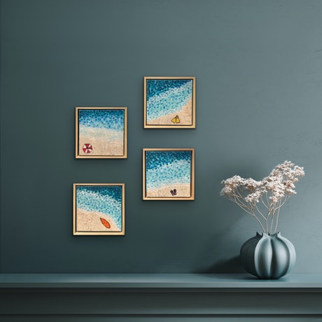 (CreativeWork) BEACH SERIES SET OF 4 FRAMED SMALL PAINTINGS  - CZ21015 by Carol Zsolt. Acrylic Paint. Shop online at Bluethumb.