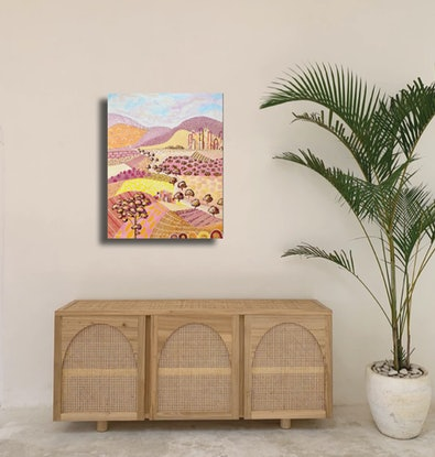 (CreativeWork) Sunset Ranges - Abstract Landscape by Daniela Fowler. Acrylic Paint. Shop online at Bluethumb.