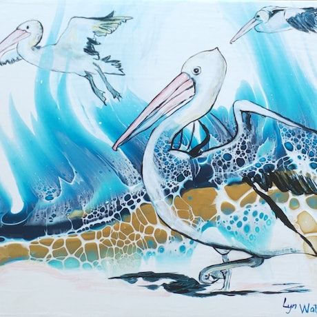 (CreativeWork) Pelicans in the Landscape- poured acrylic series by Lyn Watts. Other Media. Shop online at Bluethumb.