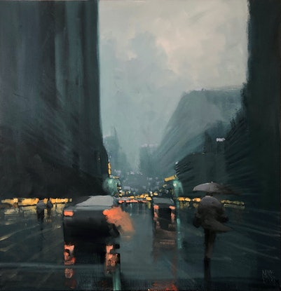 (CreativeWork) Big-city rain  by Mike Barr. Oil Paint. Shop online at Bluethumb.