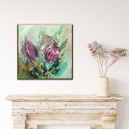 (CreativeWork) Protea Magic  by Lucile Hibbsio. Oil Paint. Shop online at Bluethumb.