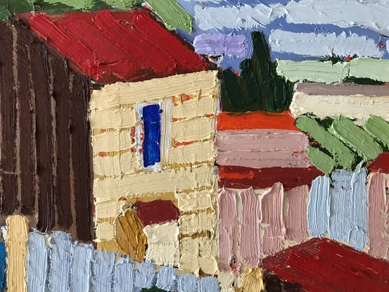 (CreativeWork) Landscape after Roland Wakelin by Lizzie Wawn. Oil. Shop online at Bluethumb.