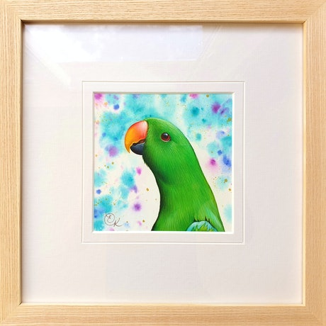 (CreativeWork) Eclectus parrot by Elena Kolotusha. Watercolour Paint. Shop online at Bluethumb.