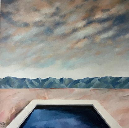(CreativeWork) Country Pool by Geoff Coleman. Acrylic Paint. Shop online at Bluethumb.