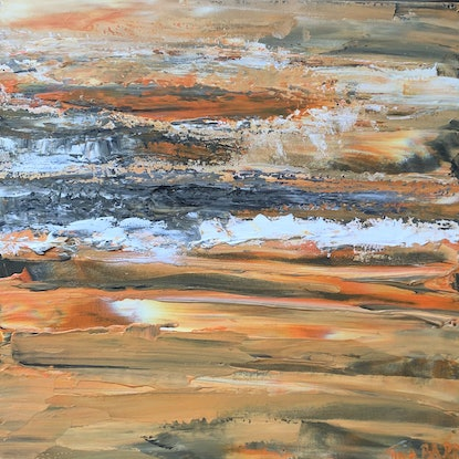 (CreativeWork) Sunset Song by Tina Barr. Acrylic Paint. Shop online at Bluethumb.