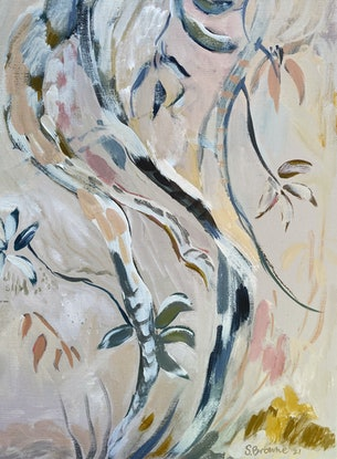 (CreativeWork) Notes from a Bush walk 2021 by Sally Browne. Oil. Shop online at Bluethumb.
