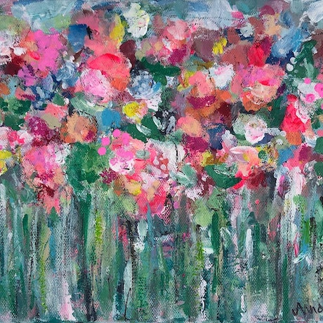 (CreativeWork) Garden Party Abstract Floral by Anna Pontikis. Acrylic Paint. Shop online at Bluethumb.