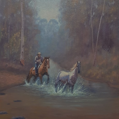 (CreativeWork) Bringing back the Mare by Kevin McKeown. Oil Paint. Shop online at Bluethumb.