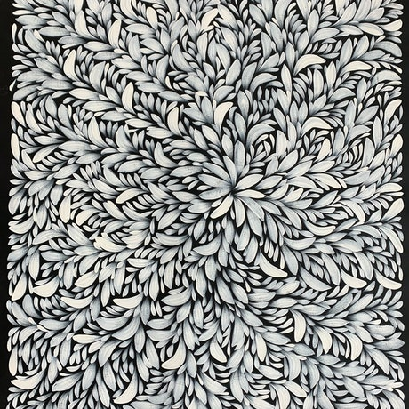 (CreativeWork) Bush Medicine Leaves (wide) - Black / White (A) by Louise Numina. Acrylic Paint. Shop online at Bluethumb.