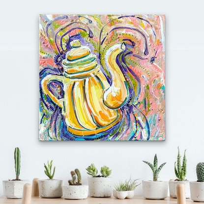 (CreativeWork) Pot calling Kettle Yellow by Tina Dinte. Acrylic Paint. Shop online at Bluethumb.