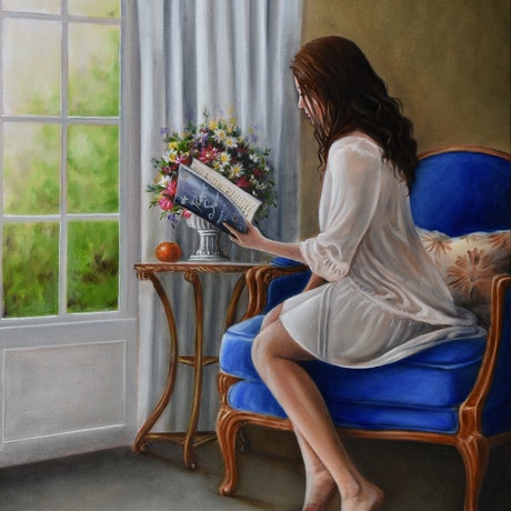 (CreativeWork) Girl reading by the window by Natasha Junmanee. Oil Paint. Shop online at Bluethumb.