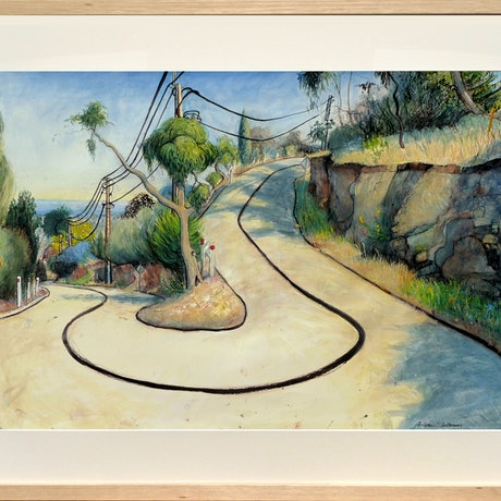 (CreativeWork) Power lines, road and shrubbery(colour) Gill Terrace, Glen Osmond by Andrew Stattmann. Mixed Media. Shop online at Bluethumb.