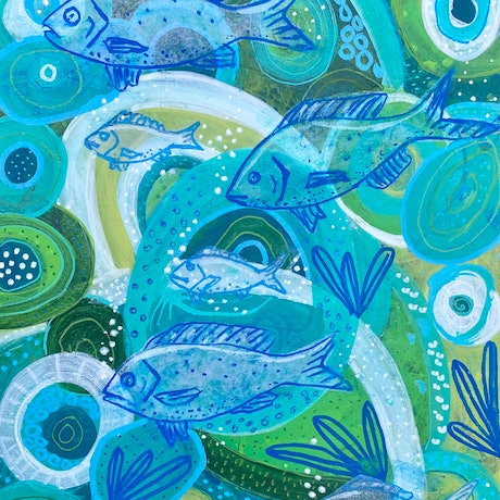 (CreativeWork) Swimming in Depths  by Anna Just. Mixed Media. Shop online at Bluethumb.