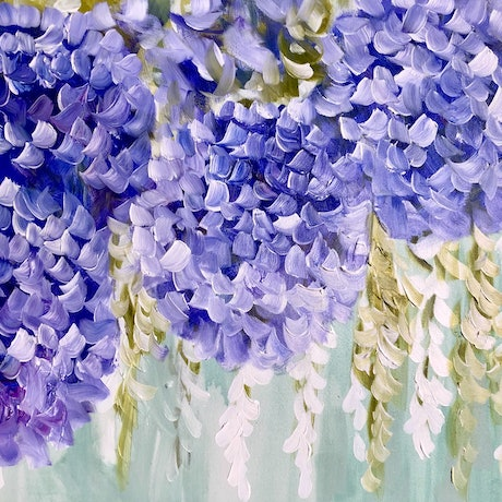 (CreativeWork) Petite hydrangea  by Amanda Brooks. Acrylic Paint. Shop online at Bluethumb.