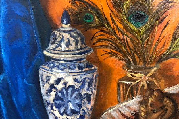 (CreativeWork) Wooden elephant, Lyrebird and peacock feathers - still life  by Christopher Vidal. Oil. Shop online at Bluethumb.