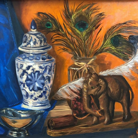(CreativeWork) Wooden elephant, Lyrebird and peacock feathers - still life  by Christopher Vidal. Oil Paint. Shop online at Bluethumb.