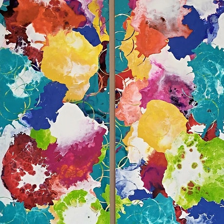 (CreativeWork) Summer Raindrops - Diptych  by Kelly Hinds. Mixed Media. Shop online at Bluethumb.