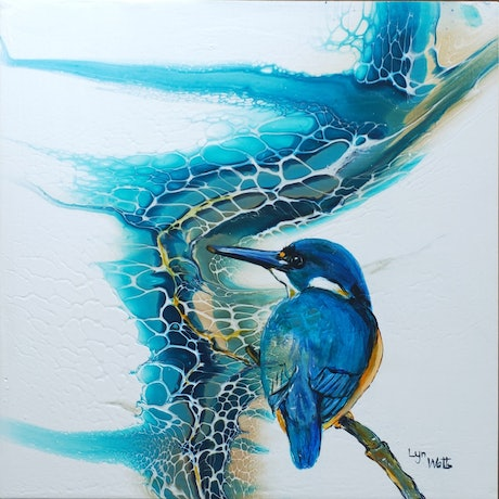 (CreativeWork) An Azure Kingfisher - poured acrylic series by Lyn Watts. Acrylic Paint. Shop online at Bluethumb.