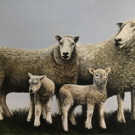 (CreativeWork) FAMILY OF FOUR by LOUISE GROVE WIECHERS. Acrylic Paint. Shop online at Bluethumb.