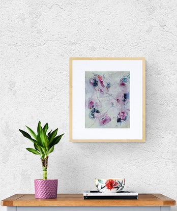 """(CreativeWork) """"Blossoms"""" intuitive abstract work on paper by karen lavender. Mixed Media. Shop online at Bluethumb."""