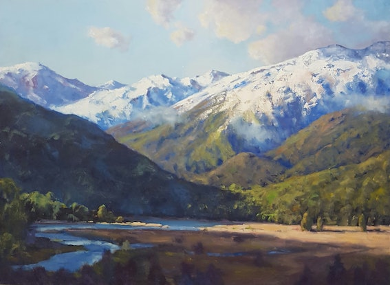 (CreativeWork) Snow Capped Mountains. Haast Pass. West Coast. New Zealand by Barry Back. Oil. Shop online at Bluethumb.