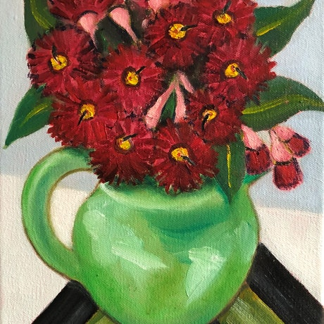 (CreativeWork) Red Gum Blossoms in Green  Jug by John Klein. Oil Paint. Shop online at Bluethumb.