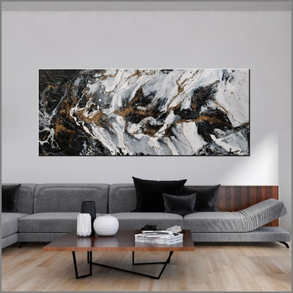 (CreativeWork) Bronzed Golden Ransom 240cm x 100cm Black White Gold Abstract Textured Acrylic Gloss Finish FRANKO by _Franko _. Acrylic Paint. Shop online at Bluethumb.