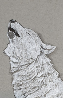 (CreativeWork) Arctic Wolf Howl iii by Liz H Lovell. Mixed Media. Shop online at Bluethumb.